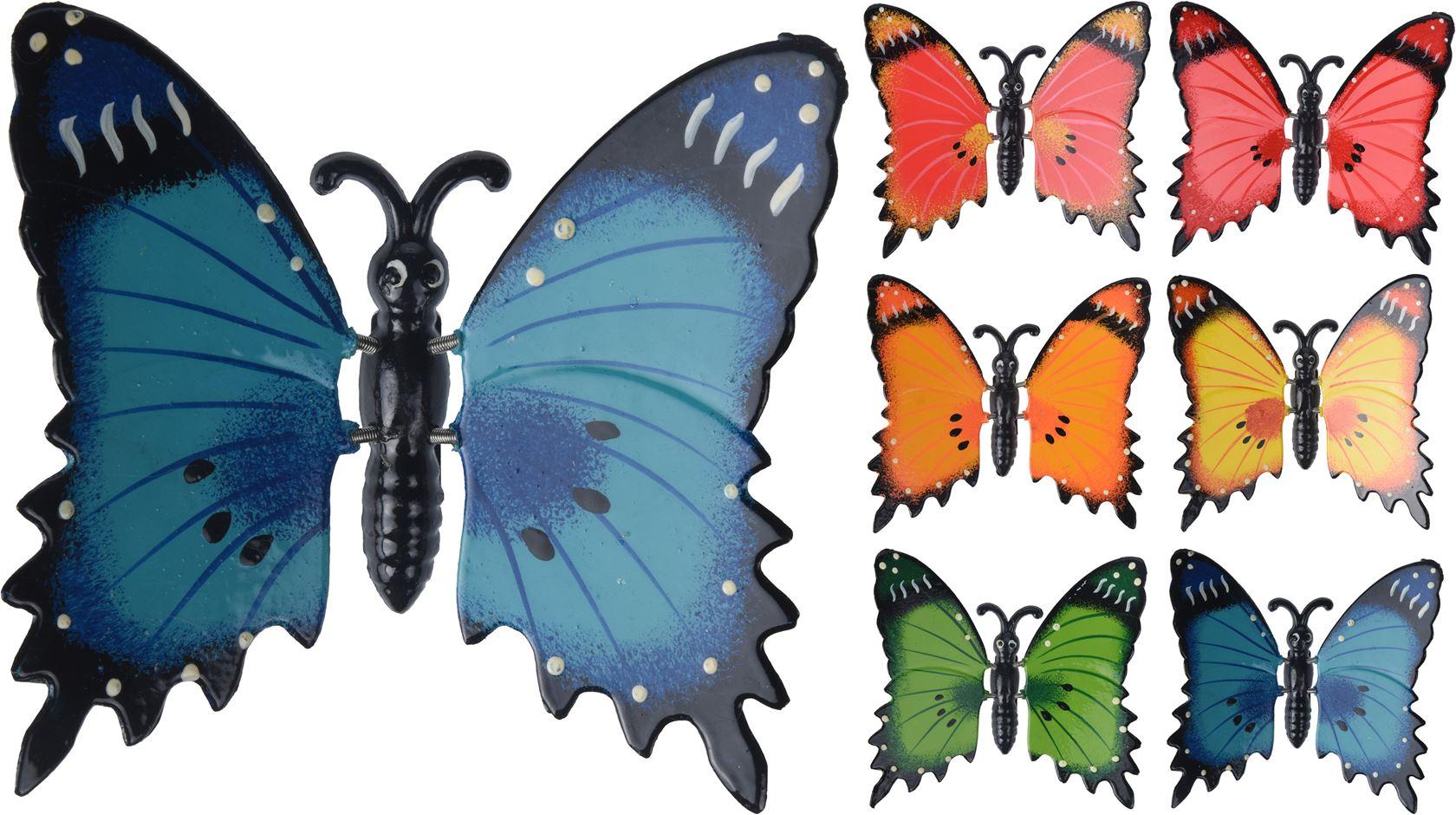 polystone vlinder met magneet (6ass.)