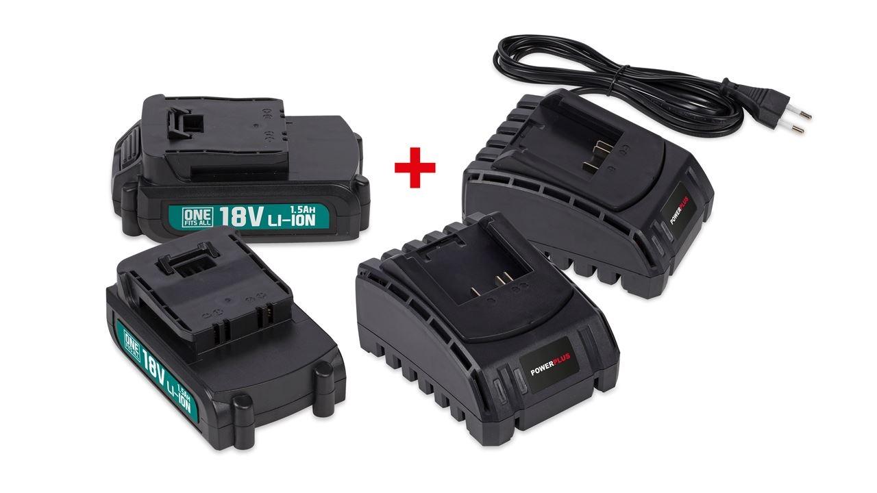 powerplus 2xbatt 18v li 1.5ah + 2xlader