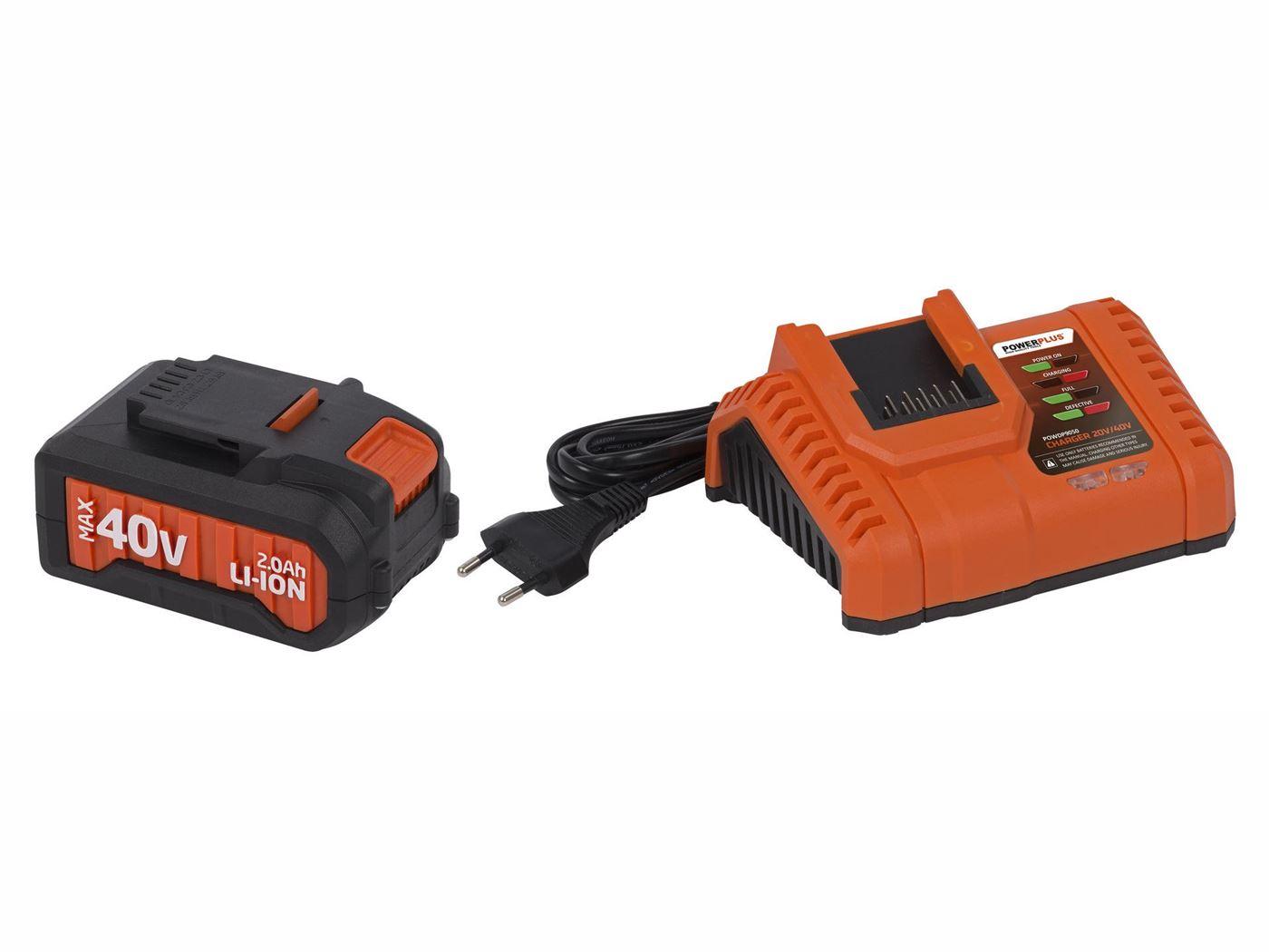 powerplus lader 20v/40v + batterij 40v li-ion 2.0ah