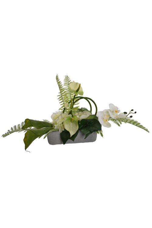 pure royal calla/hydrangea/orchid arrangement on plate cream