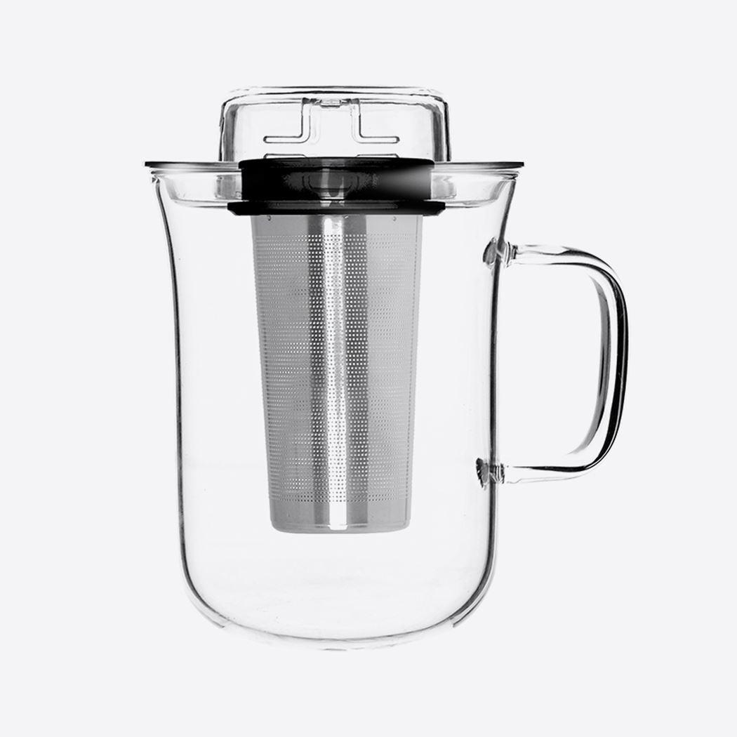qdo me cup thee infuser zwart met mok uit glas