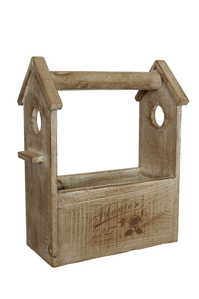 rectangle birdhouse planter brown
