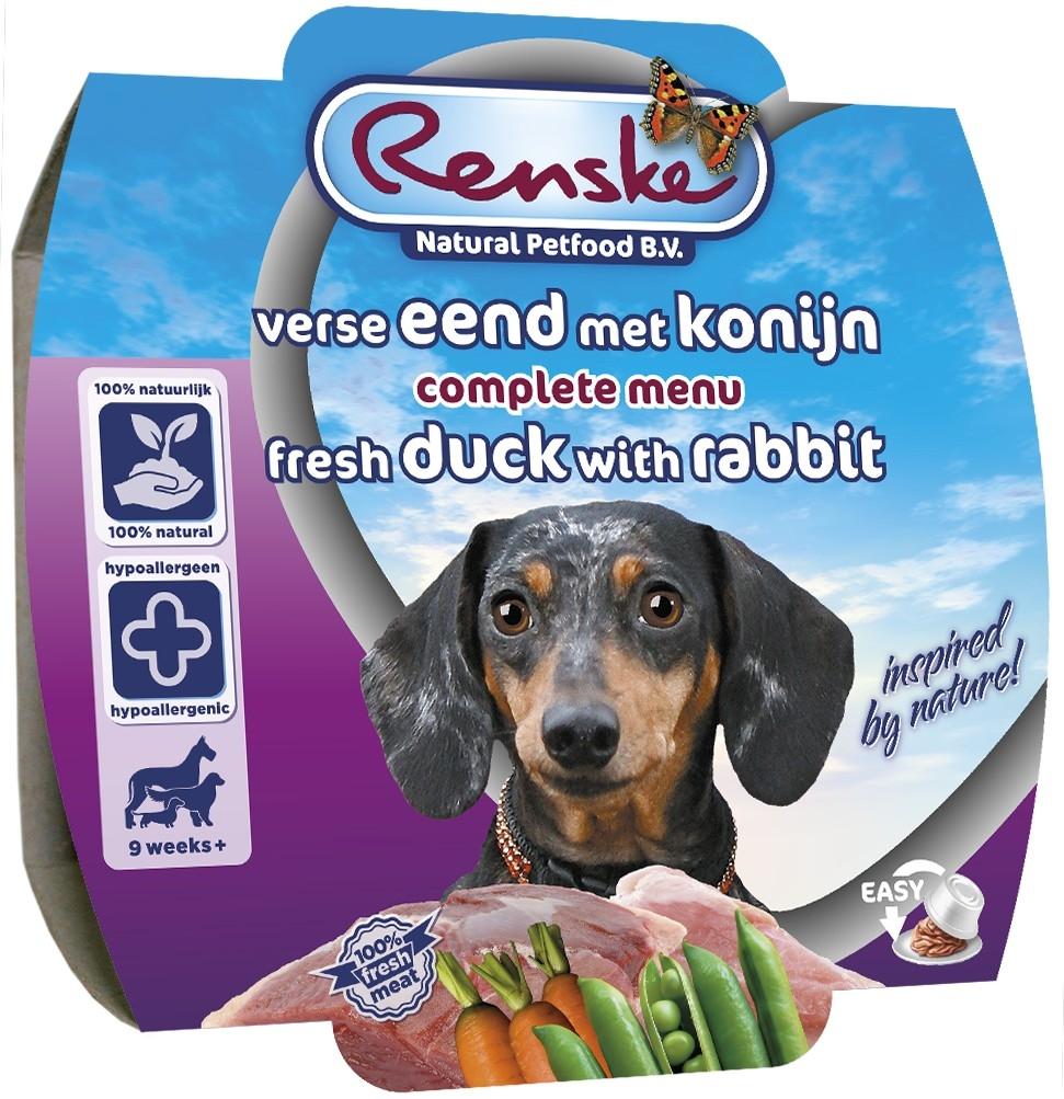 renske vers vlees maaltijd hond eend met konijn