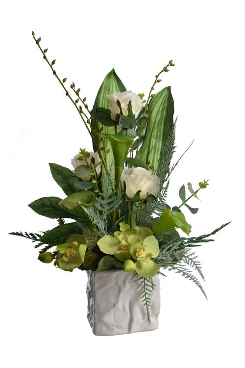 rose bud/calla/orchid arrangement in pot green