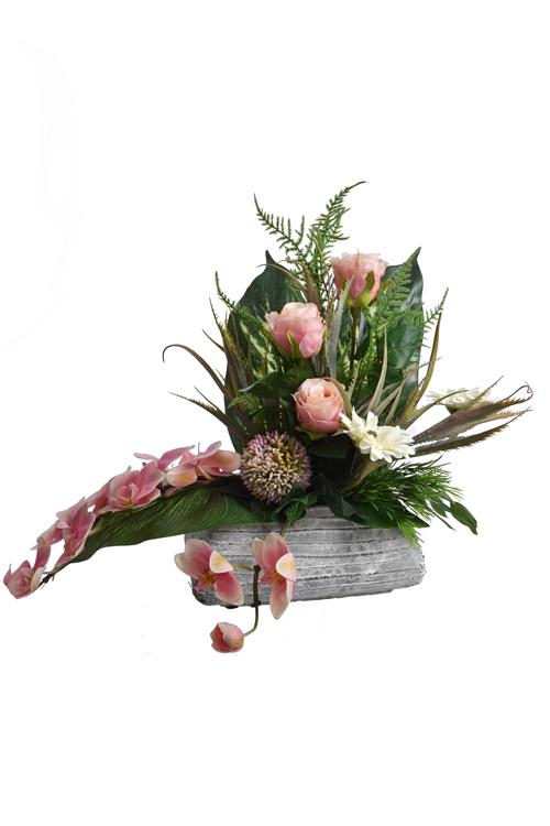 rose bud/gerbera/orchid arrangement in pot pink