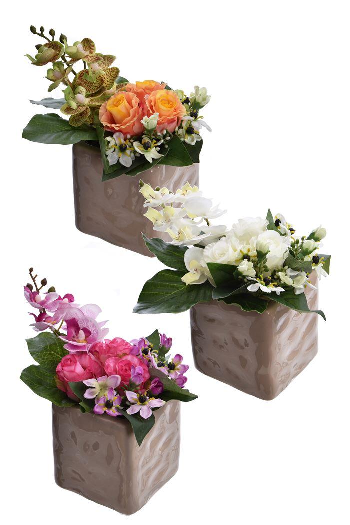 rose bud/orchid arrangement in pot assorted