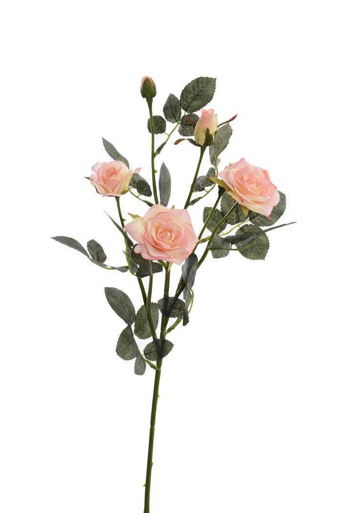 rose spray x 6 cream pink
