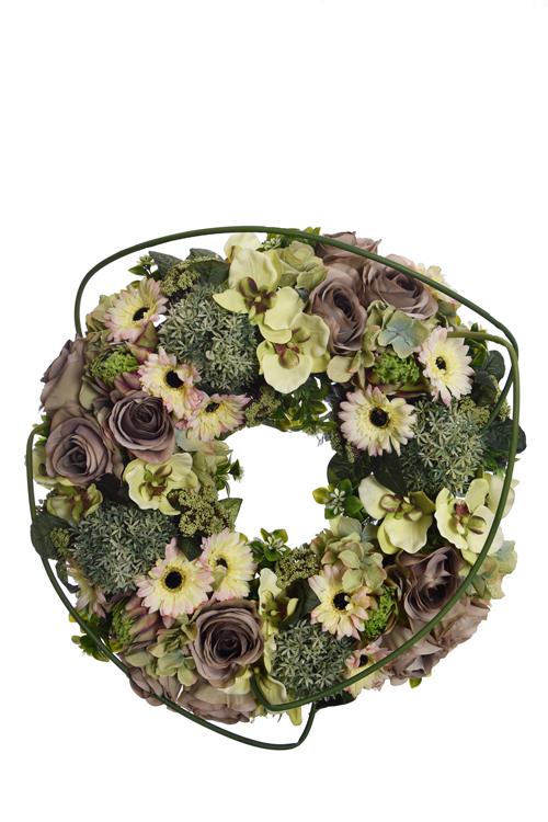 rose/gerbera/orchid/hydrangea arrangement wreath