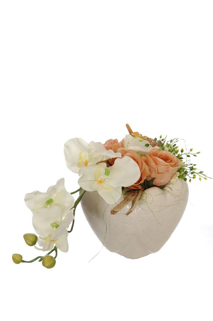 rose/orchid arrangement in pot salmon