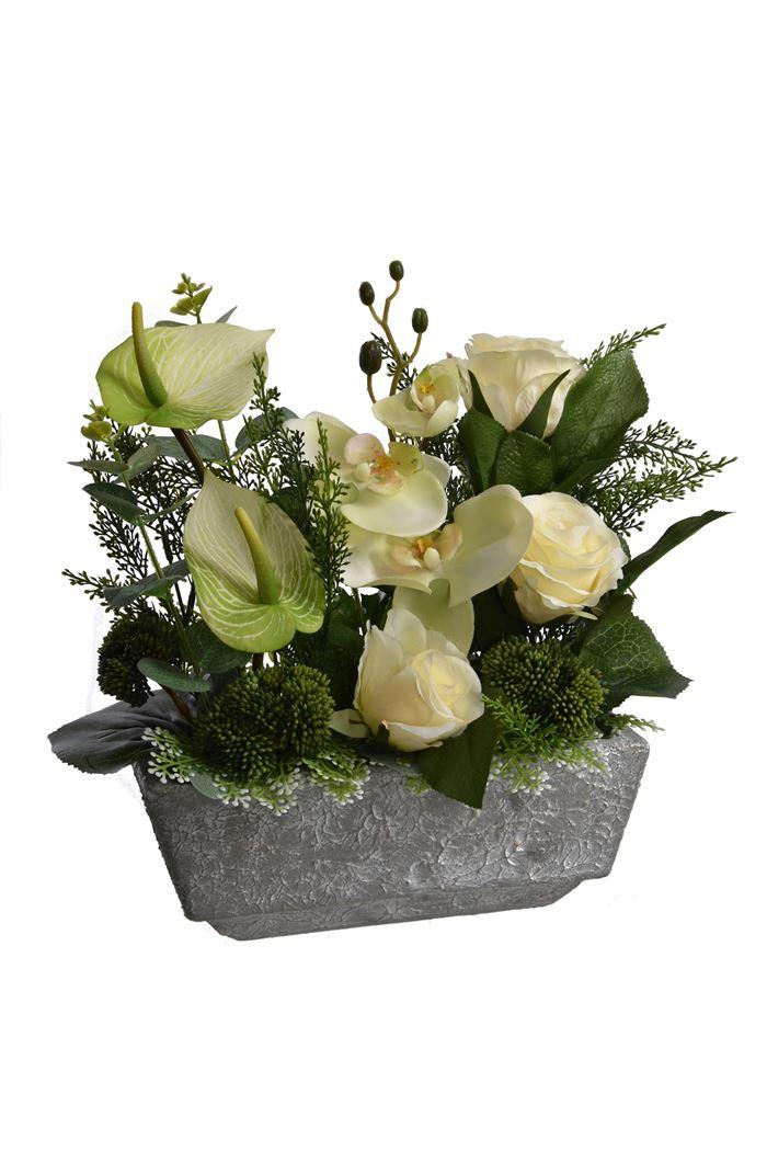 rose/orchid/anthurium arrangement in pot cream