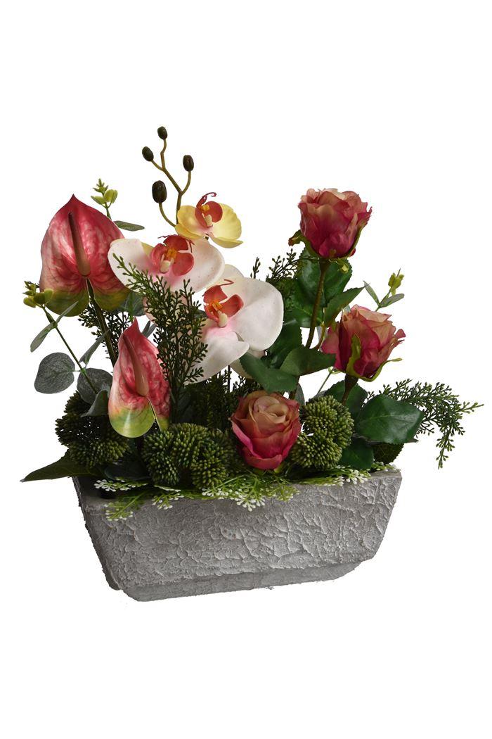 rose/orchid/anthurium arrangement in pot pink