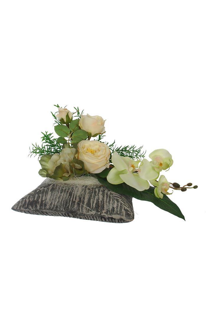 rose/orchid/cabage arrangement in pot cream
