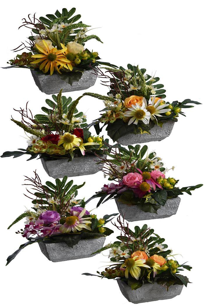 rose/orchid/rudbeckia arrangement in pot assorted