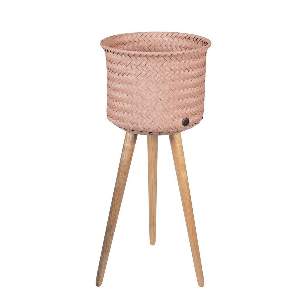 round basket with wooden feet size high copper blush