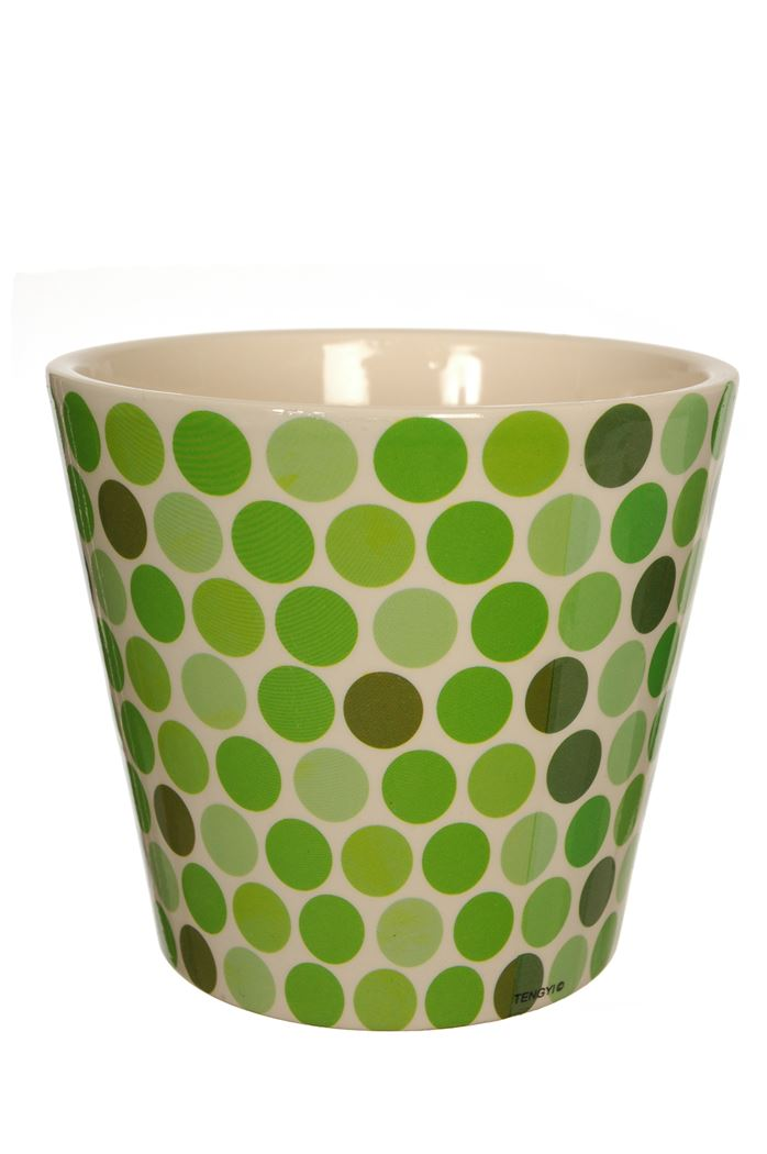 round pot with dots design green