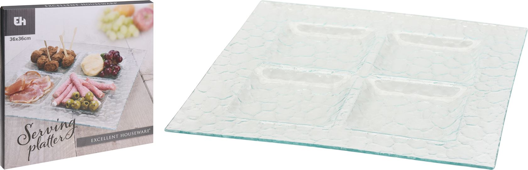schaal glas vierkant