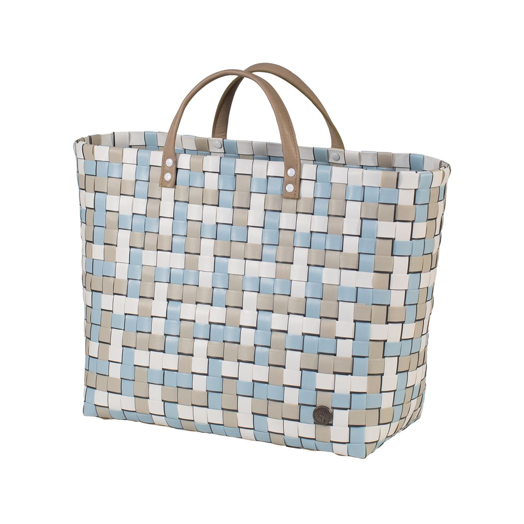shopper fat strap pastel blue with fine line with pu handles and inner pocket