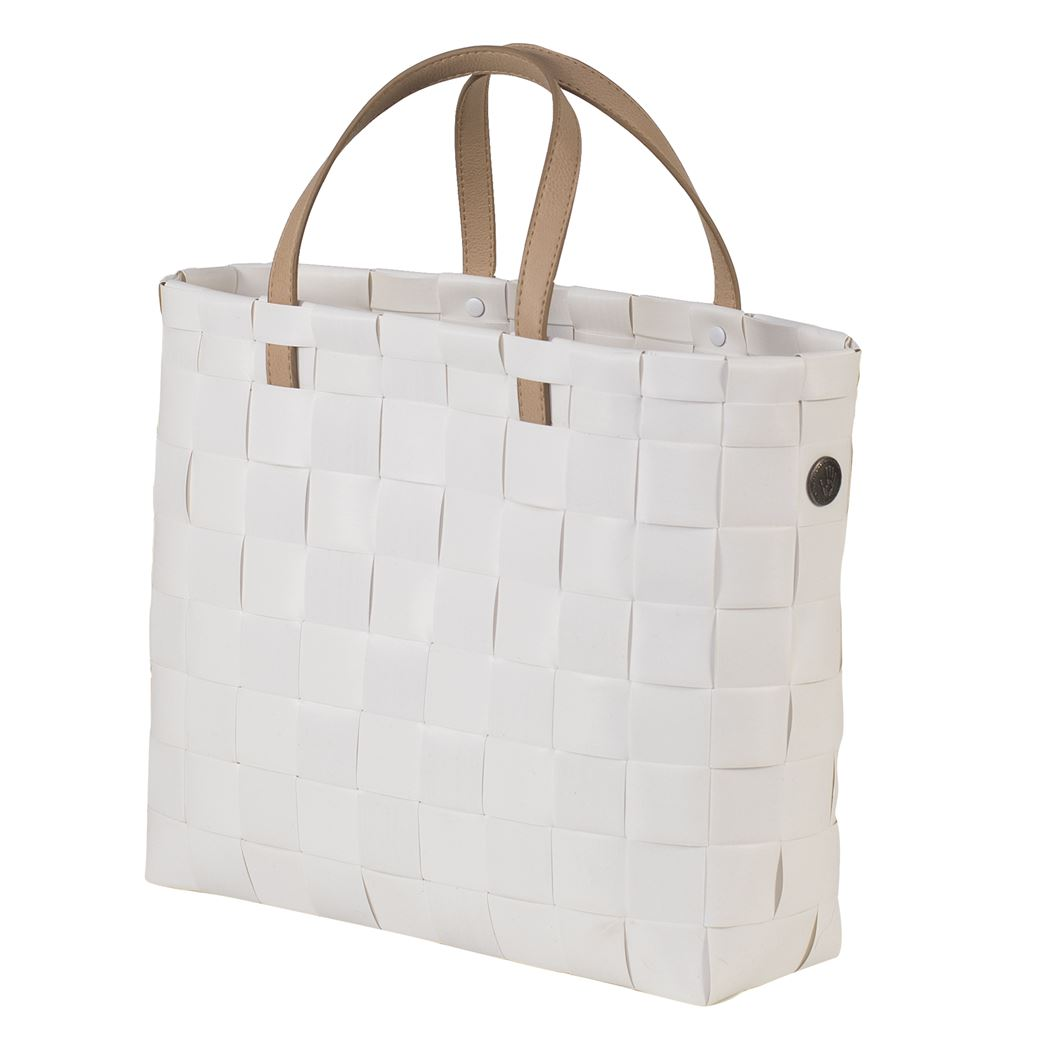 shopper fat strap white size xs with pu handles and inner pocket