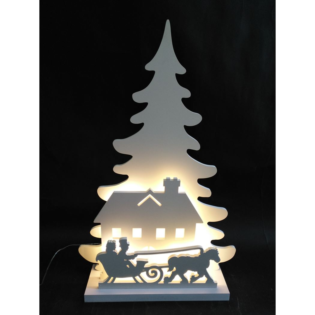 silhouette 2 trees with santa / indoor white warmwit led (b/o)