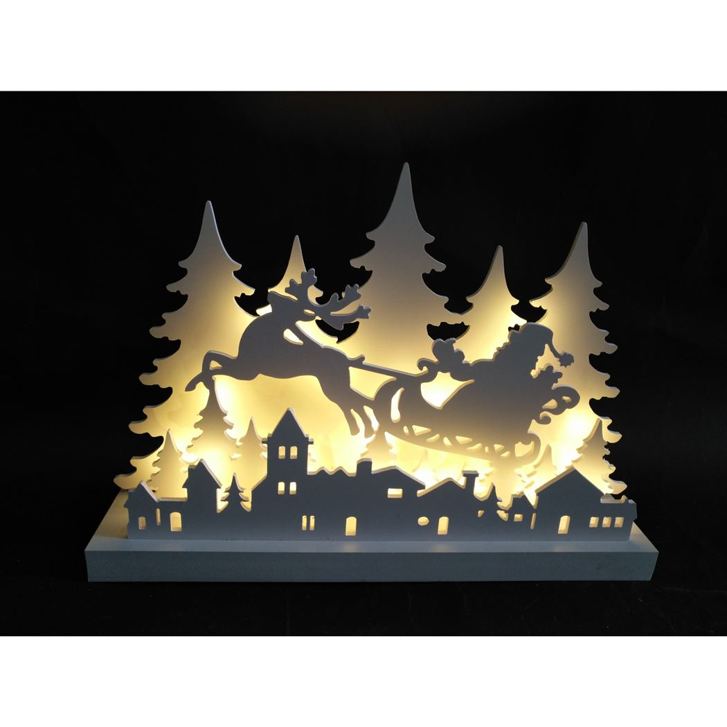 silhouette deer with sleigh / indoor white warmwit led (b/o)