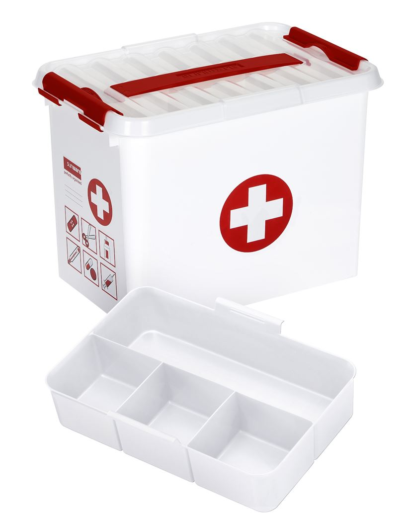 sunware q-line first aid box met inzet wit/rood