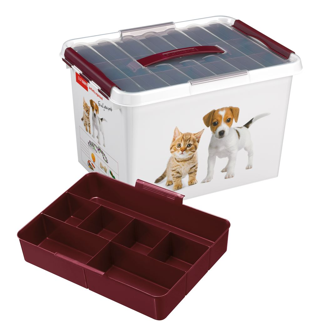 sunware q-line pet decor box met inzet wit/bordeaux
