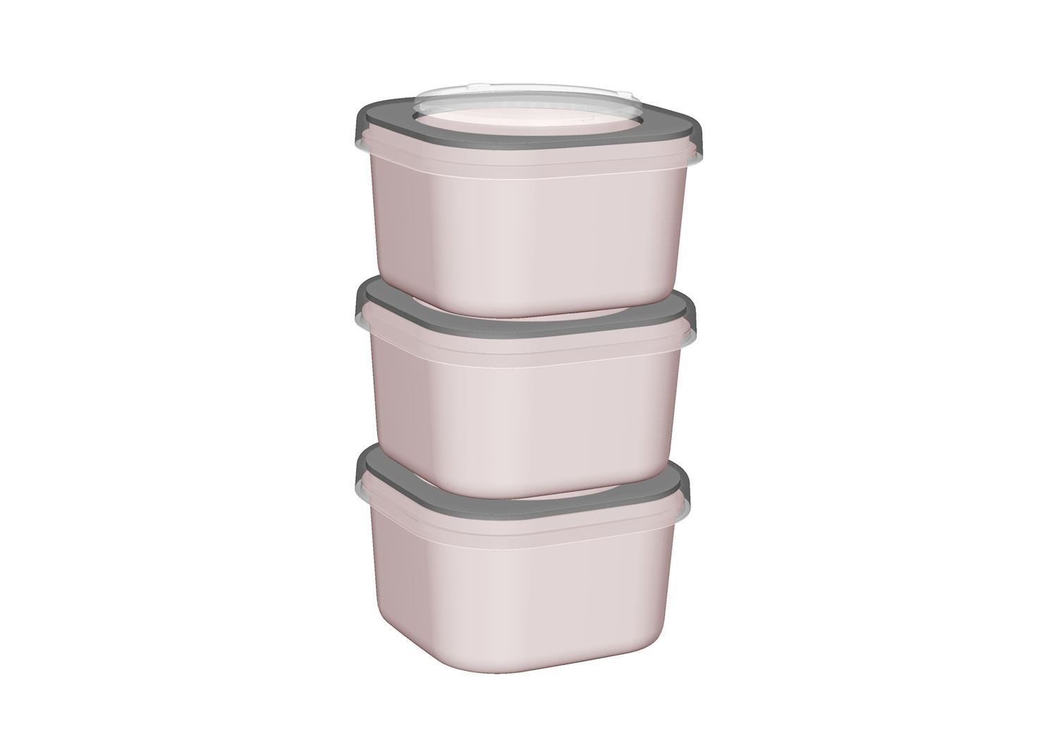 sunware sigma home food to go lunch bakje (3sts) roze/lichtgrijs