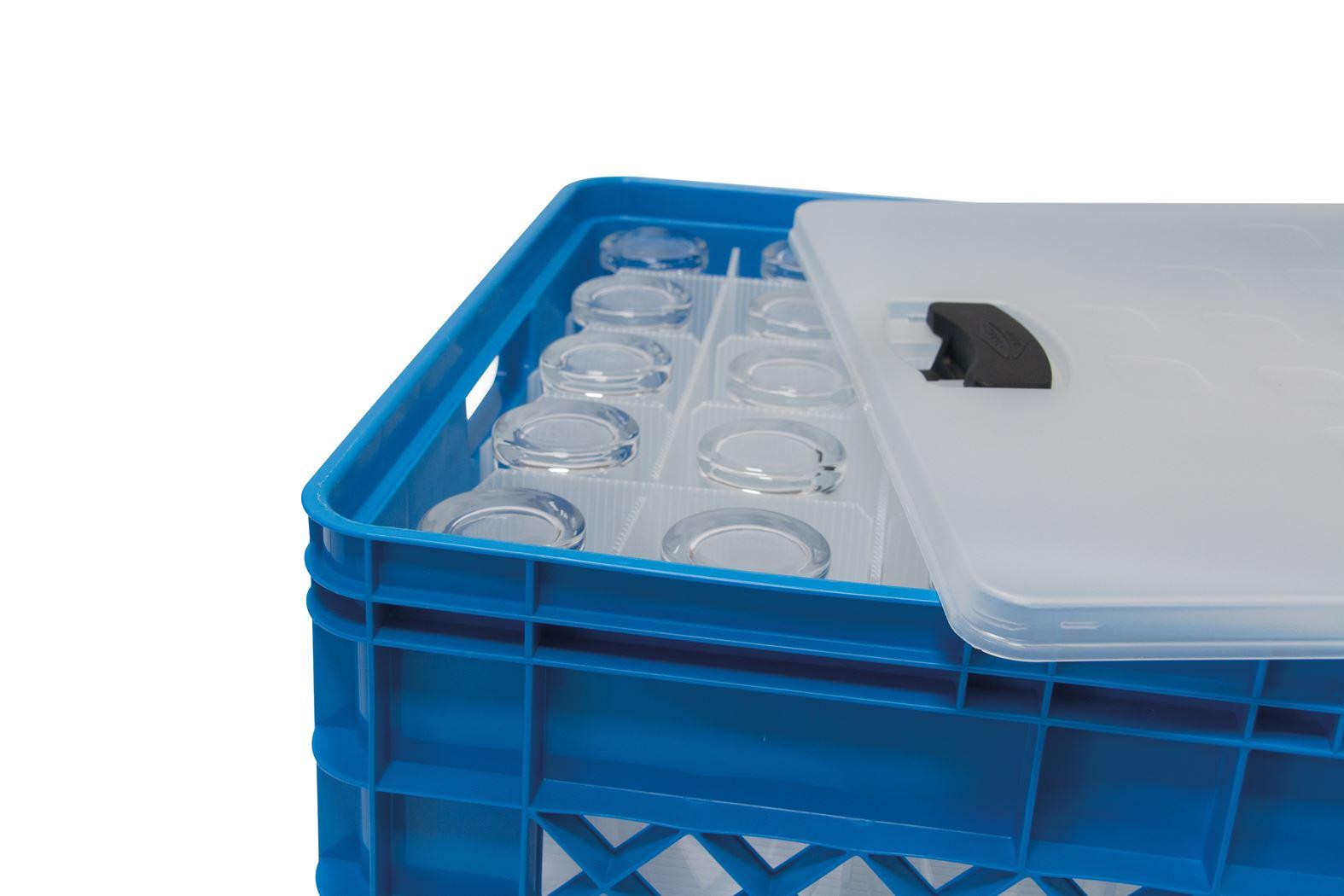 sunware square glassware box + deksel en vakverdeling voor 60 glazen bier/limonade blauw
