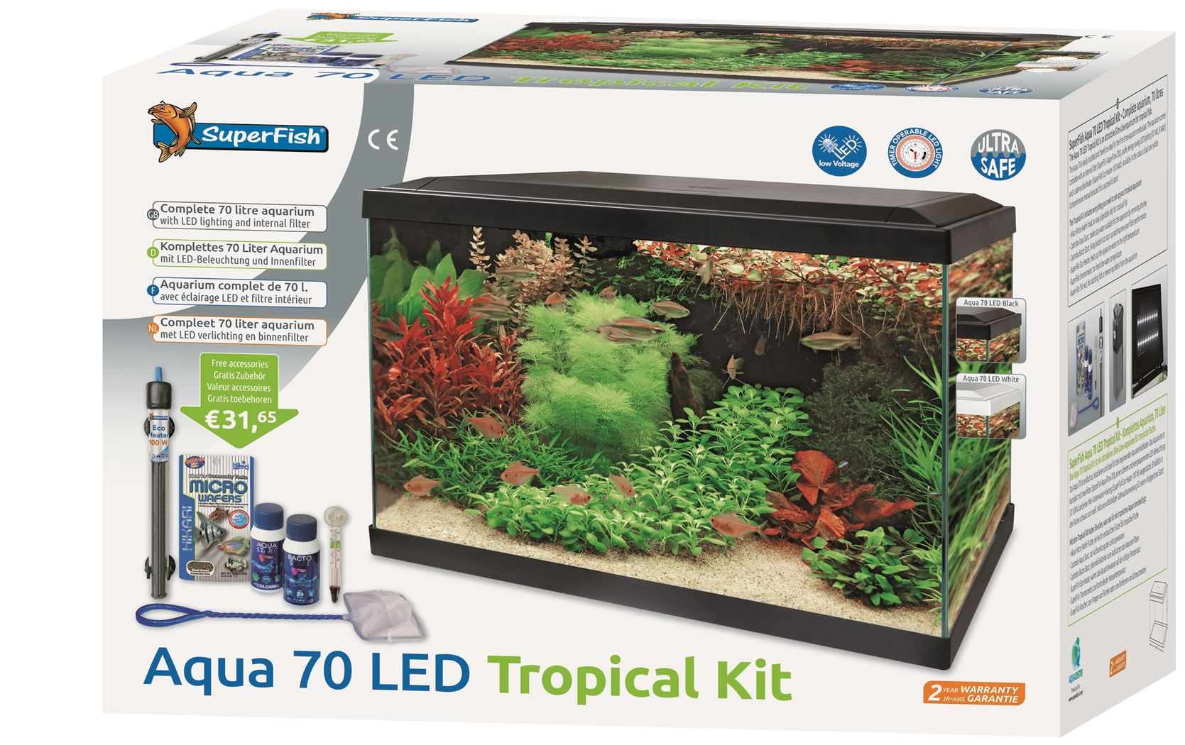 superfish aquarium start 70 led tropical kit zwart