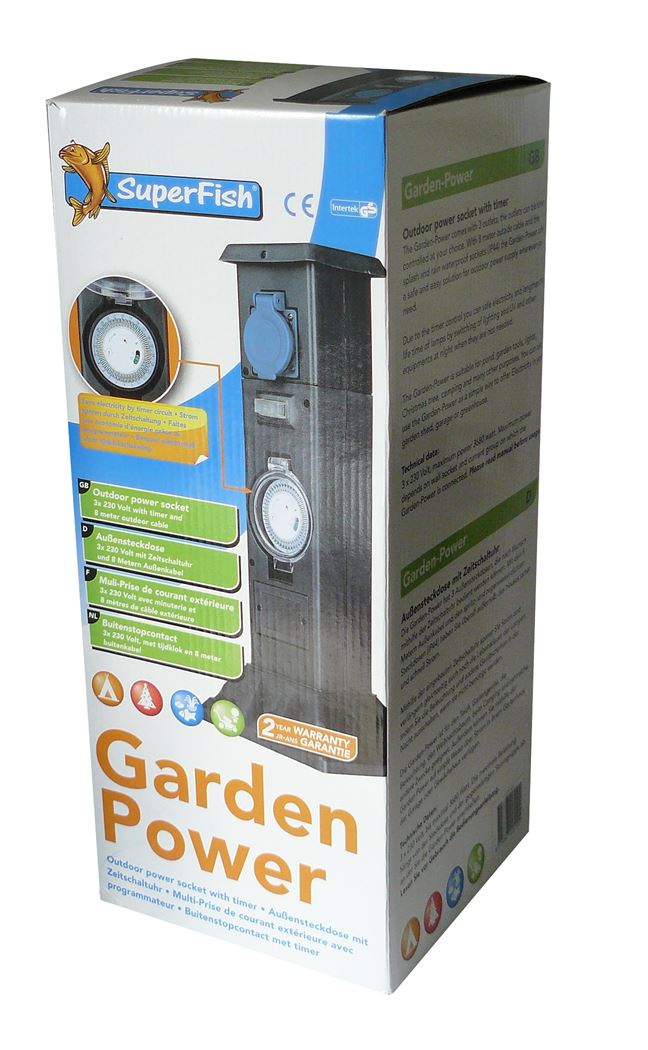 superfish garden power stekkerdoos met timer (8m kabel)