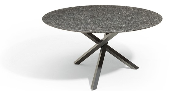tafel gigi rond, pearl black satinado, onderstel: poedercoat