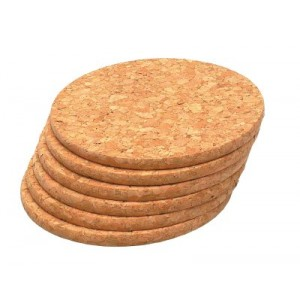 t&g round cork coasters (6sts)