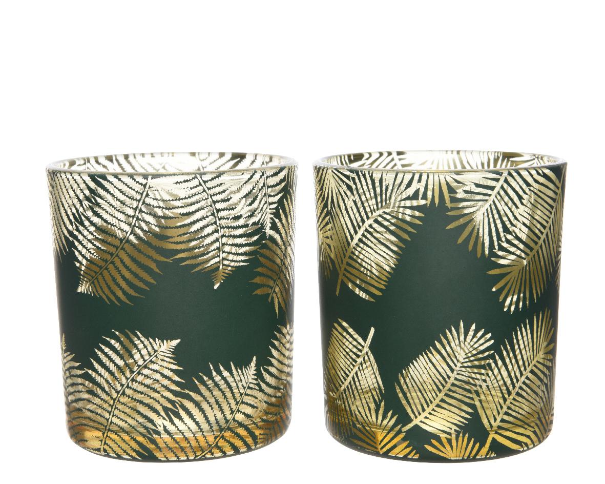 theelichthouder glas blad groen (2ass.)