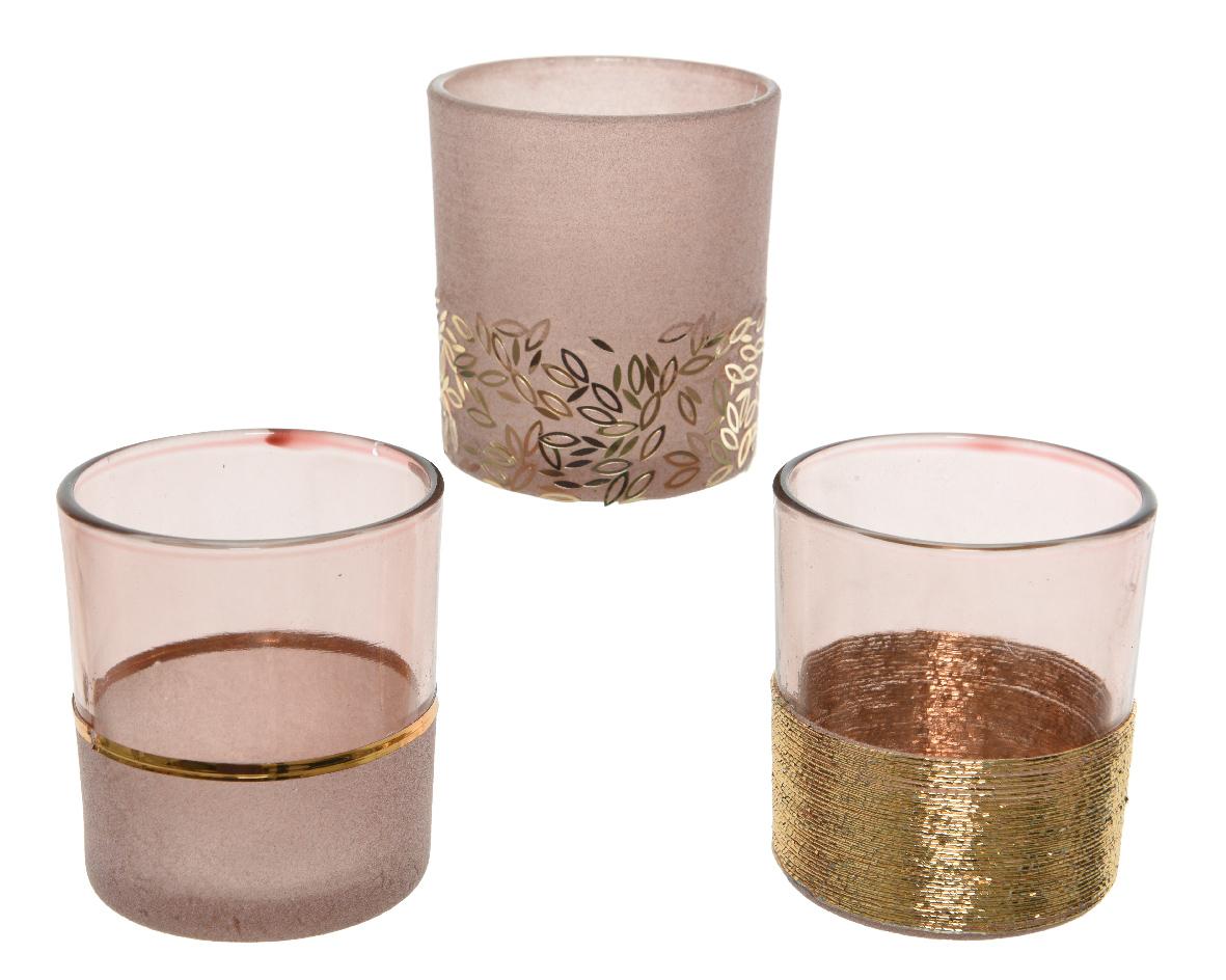 theelichthouder glas flock roze (3ass.)