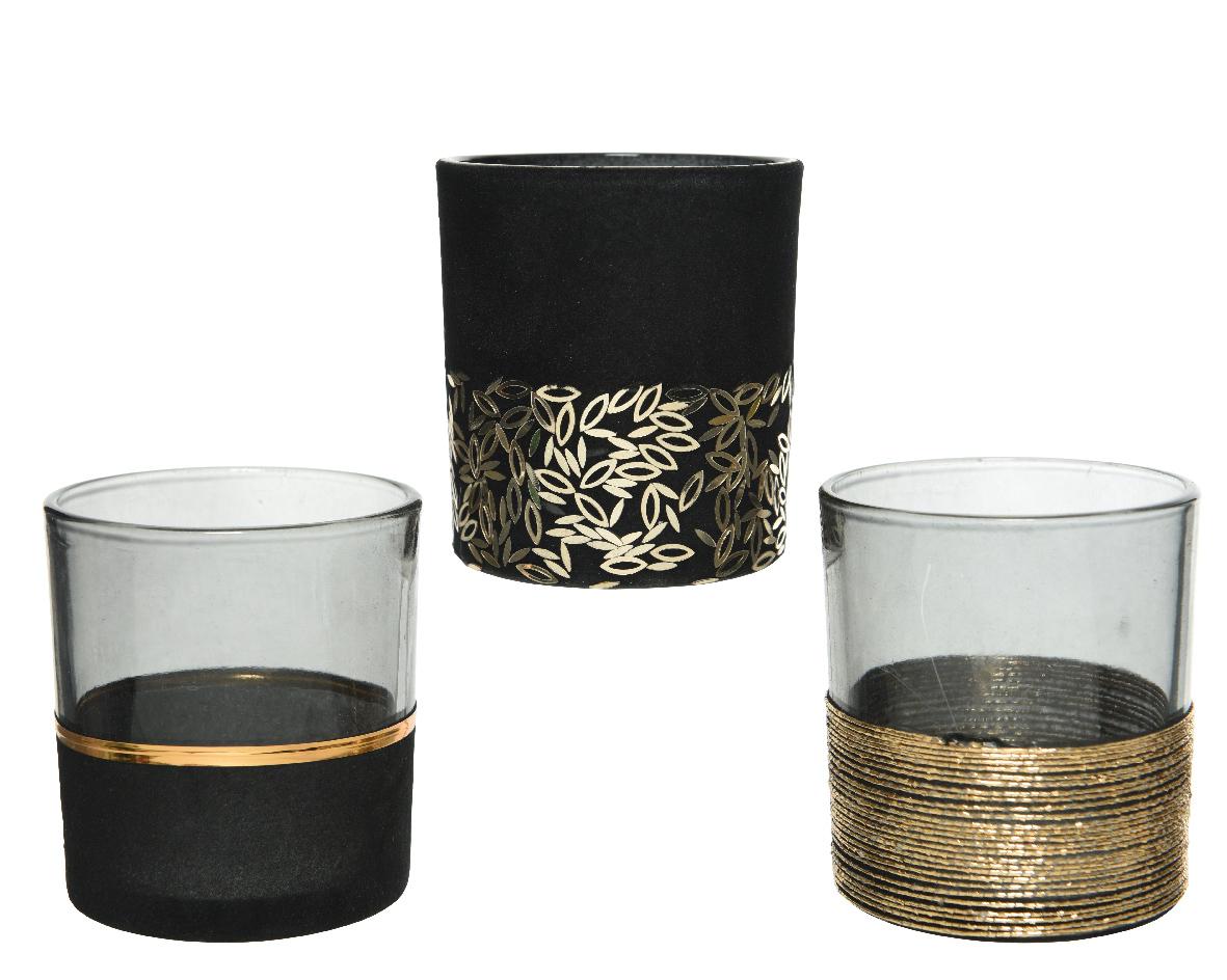 theelichthouder glas flock zwart (3ass.)