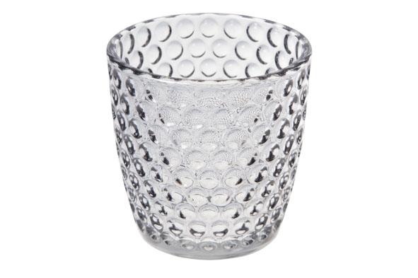 theelichthouder rond conisch glas grijs