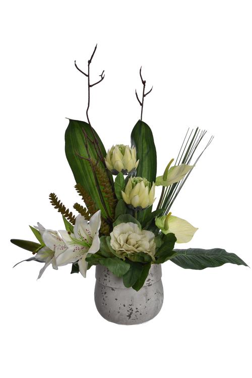 tigerlily/anthurium/protea arrangement in pot cream