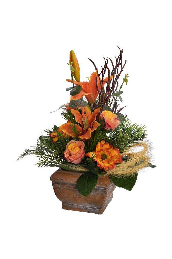 tigerlily/rose bud/gerbera arrangement in pot orange