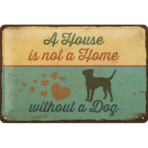 tin sign house with a dog