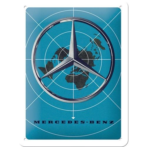 tin sign mercedes-benz - blue map