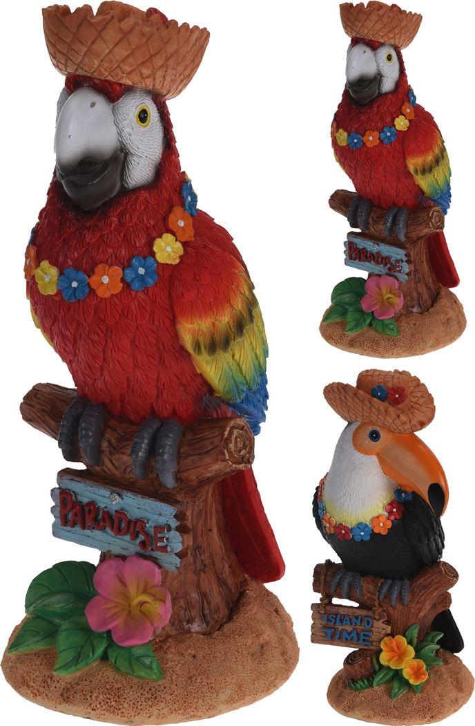 toekan en papegaai op boomstam