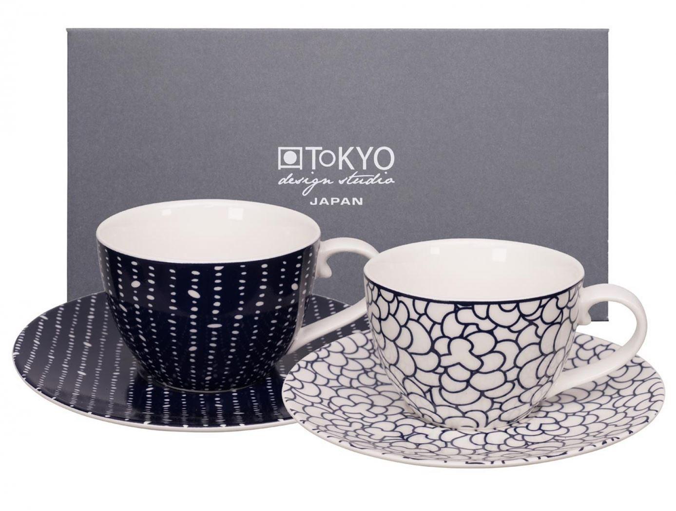 tokyo design studio bleu de'nîmes cup+saucer set pebble/leaf (4sts)