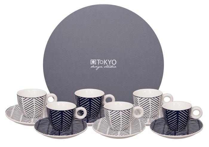 tokyo design studio bleu de'nîmes esspr. mug+saucer set herringbone white/blue (12sts)