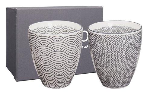 tokyo design studio nippon grey teacup set wave & squares (2sts)