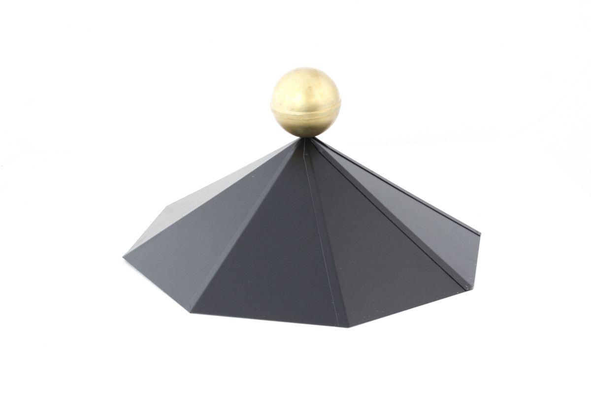 tuinhuiskap achthoek m/messing bol, zwart gepoeder