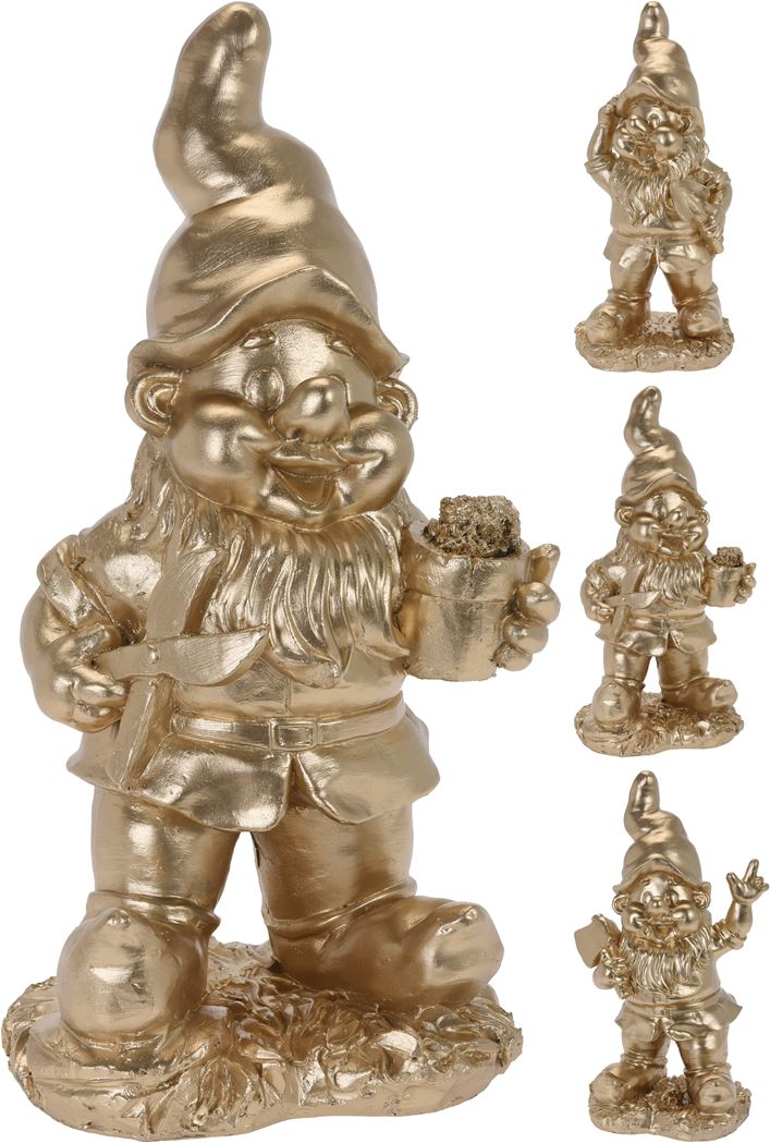 tuinkabouter staand goud (3ass.)