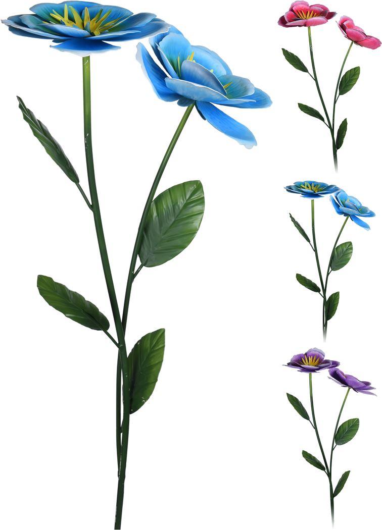 tuinprikker 2x bloem metaal (ass.)