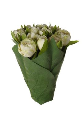 tulip bundle x 9 in leaves pot cream