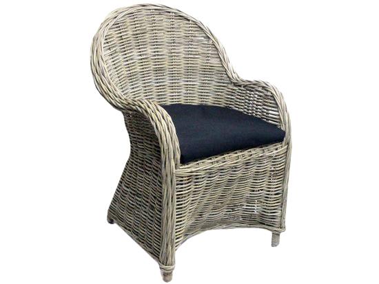 stoel antique grey met kussen