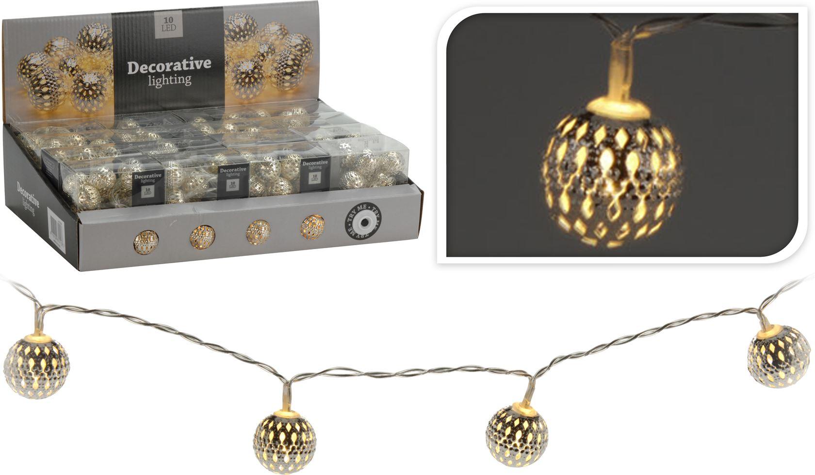 batterijverlichting led lampjes met metalen bollen klein zilver (indoor)
